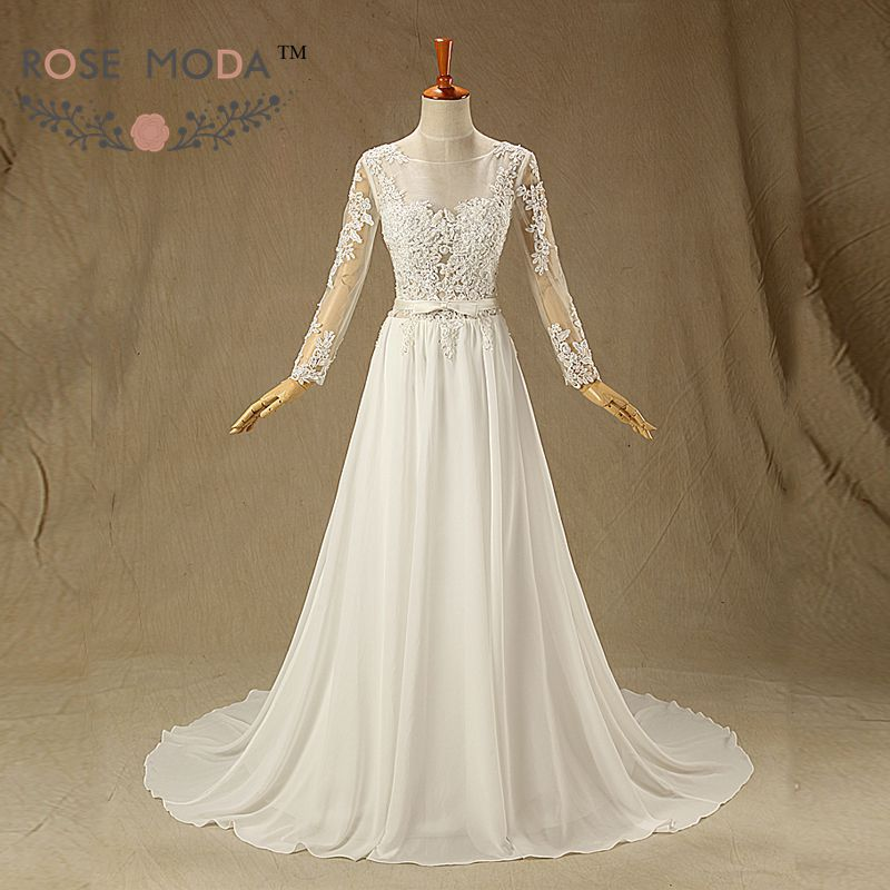 Sheer bateau neckline long sleeves chiffon beach wedding for Long sleeve chiffon wedding dress