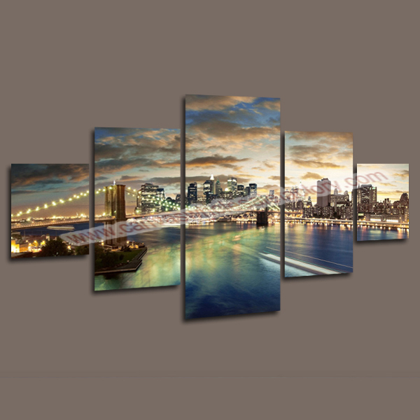 5 Panels Wall Art Painting of Manhattan Brooklyn Bridge Art Print Picture Painting Home Decoration Paintings Stretched for Room(China (Mainland))