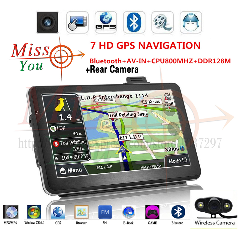 7 car inch GPS navigation SiRF Atlas-VI Dual core CPU 800MHz DDR 128M memory Bluetooth/AV-IN + Wireless Car Rear View Camera(China (Mainland))