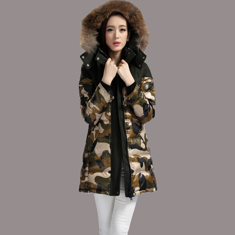 New Camouflage Winter Jacket European Slim Duck Down Jackets Women Raccoon Nagymaros Collar Coat Long Thick manteau femme JY-983
