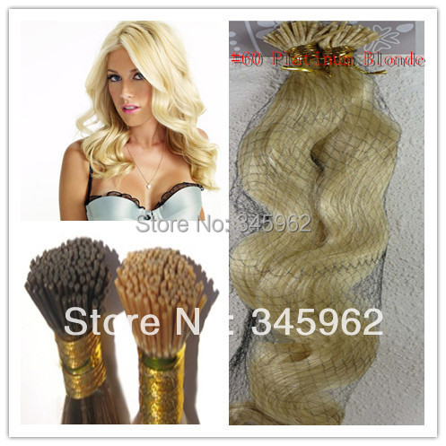 ali hair Keratin Hair Extension body wave #60 Platinum Blonde Italian keratin glue extensions 30 inch 100g - sexy products wigs store