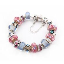 European Silver Plated Charm Full Pink & Blue Glass Love Crystal Beads Fit Women Pandora Bracelets & Bangles DIY Jewelry SL1048(China (Mainland))