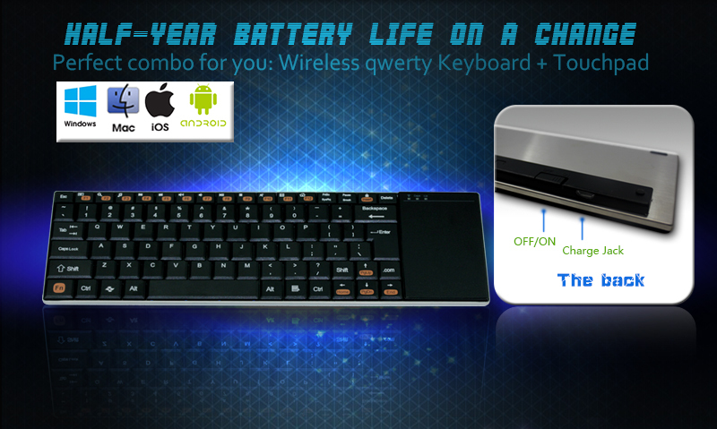 2.4G Russian wireless keyboard with touchpad for windows8.1 laptop computer android tv box tablet PC hdmi tv stick XBOX 360 HTPC(China (Mainland))