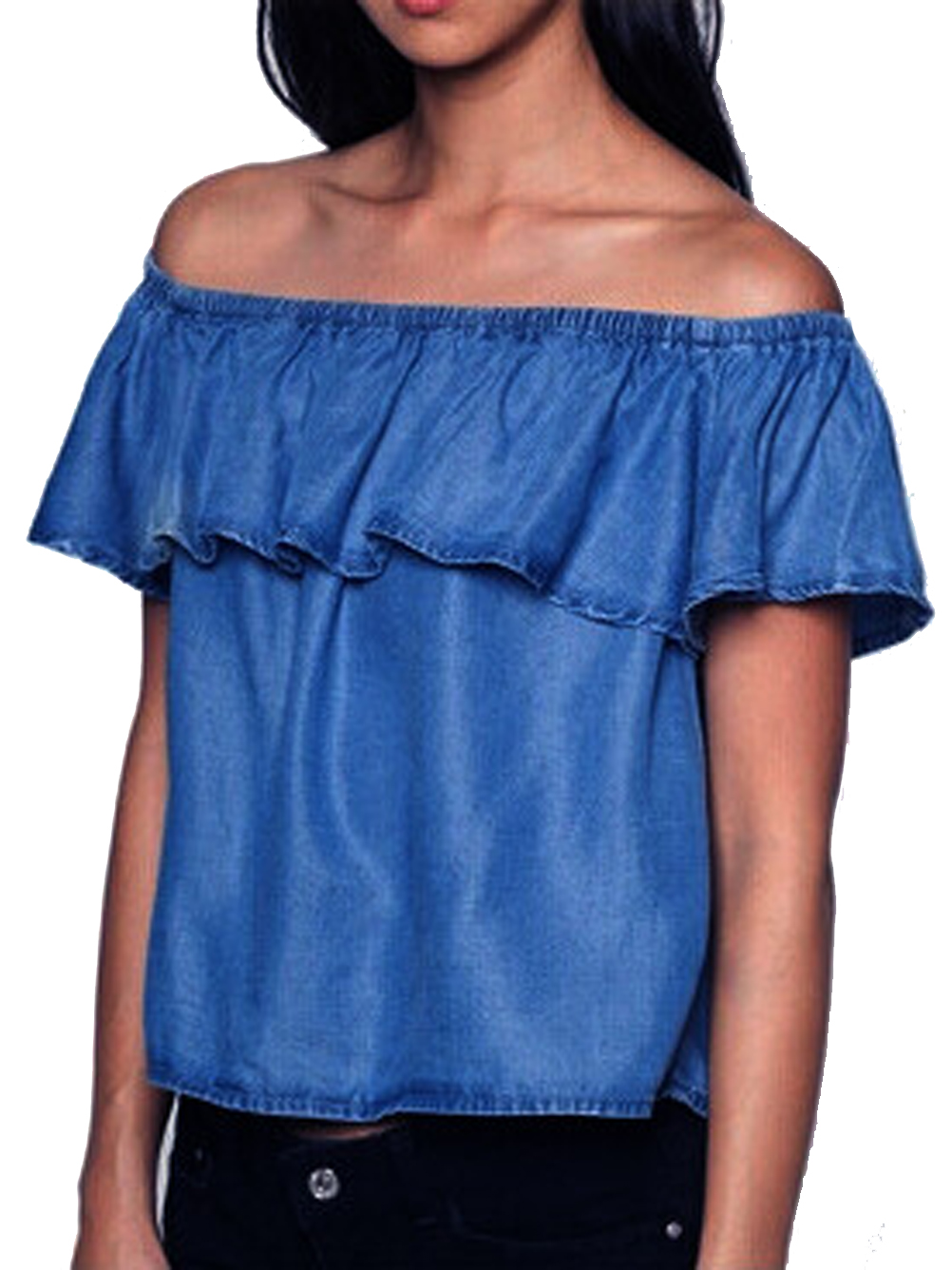 Off the shoulder blouse ruffle jean denim shirt women for Blue denim shirt for womens