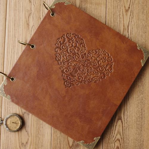 2015 Quality Vintage Diy Family Photo Album Fake Leather Scrapbook Album Kraft Paper 10 x10 Inch()