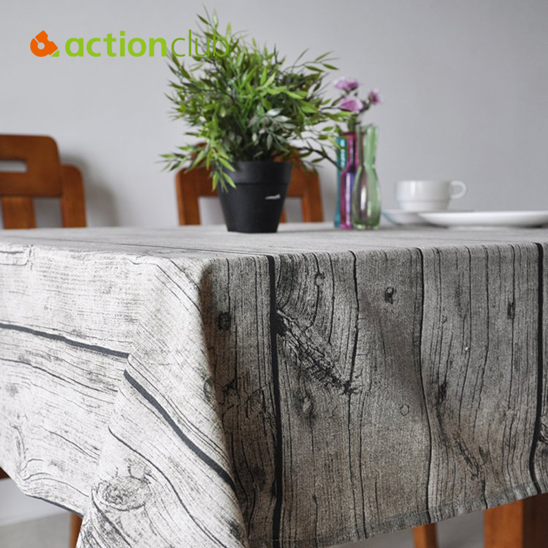 Actionclub Wooden Stripe Printed Table Covers Pastoral Tablecloth Vintage Home Decoration Party-Table-Linen Obrusy na HH2206(China (Mainland))
