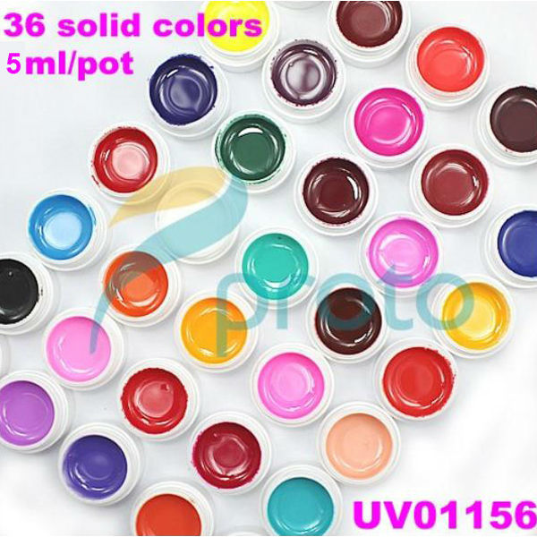 Ship USA - 36 Pure Solid Colors UV Gel Nail Art Tips Extension Decoration Color Tools SKU:USC0001