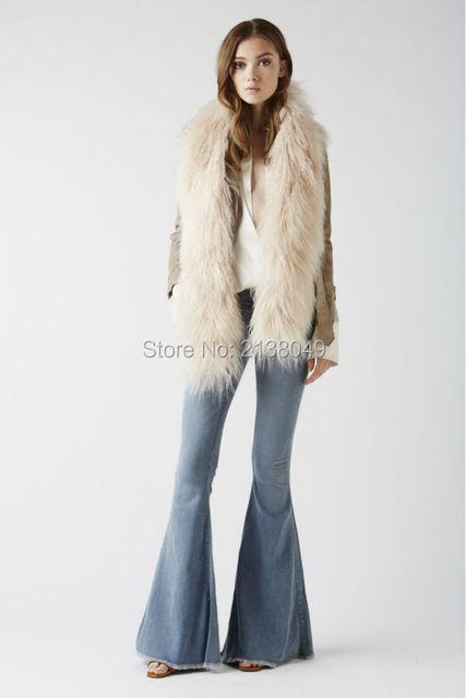 Fs009 170 * 25 см монгольский реального меховой шарфы двухстороннее носить