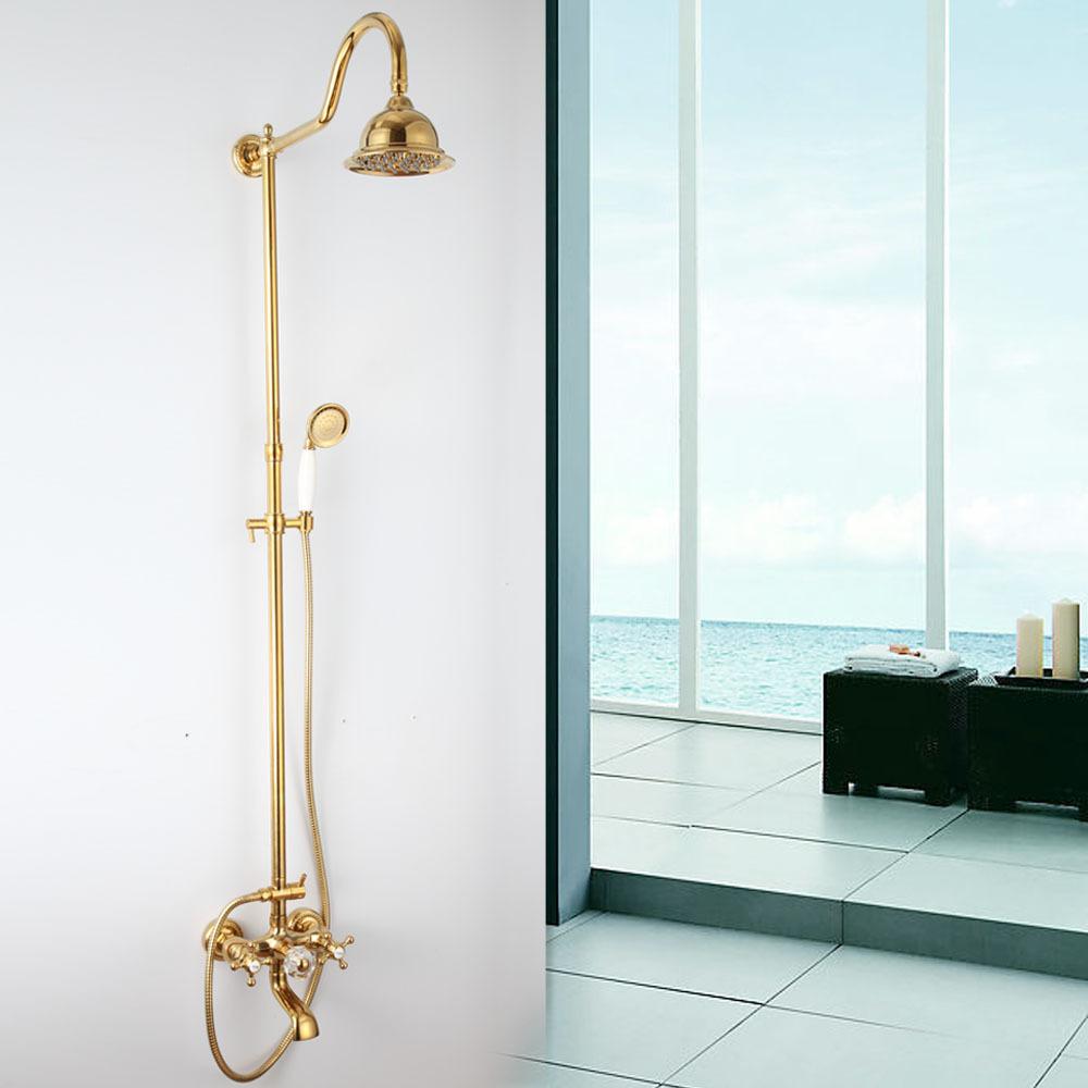 Gouden plated koperen regendouche thermostatische mengkraan douche kraan blootgesteld design - Badkamer design kraan ...