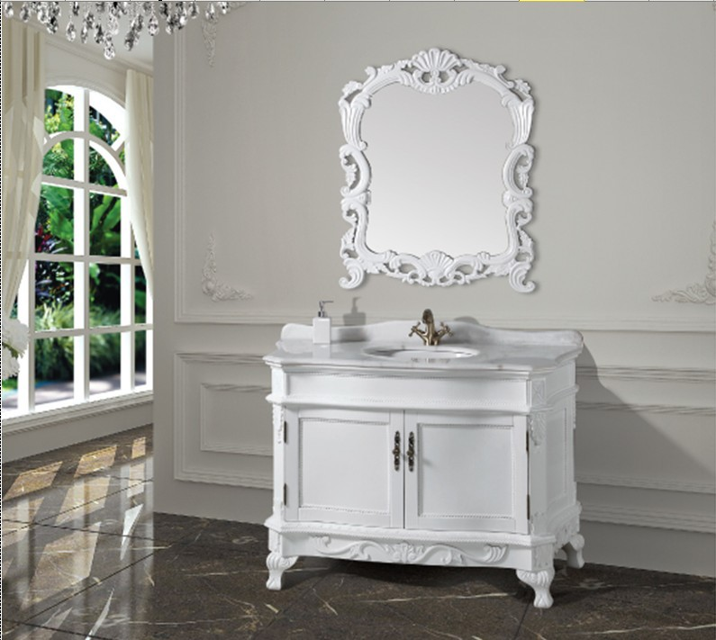 fashion white antique bathroom cabinet with mirror and basin counter