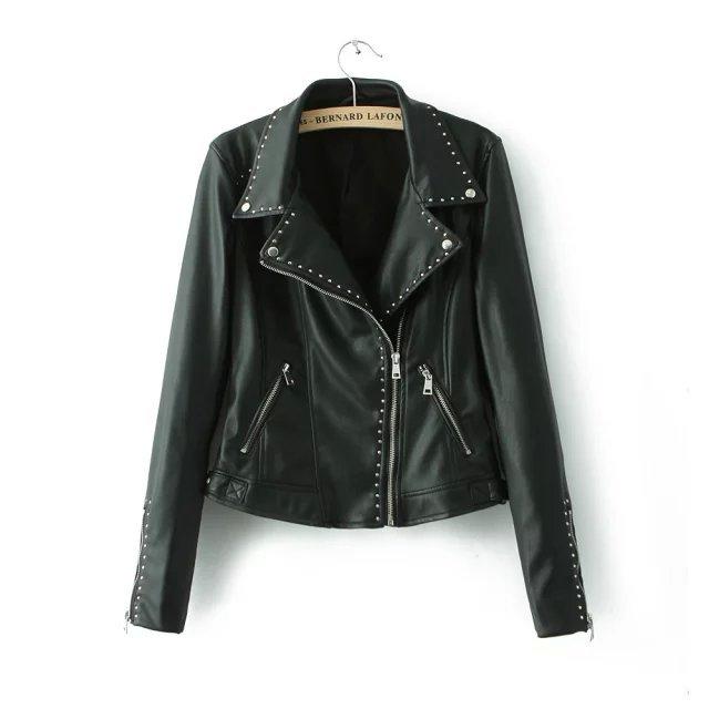 Top Wear 2015 Winter Faux PU Leather Jacket Women Black jackets Revet Zipper XL size Coats Free Shipping