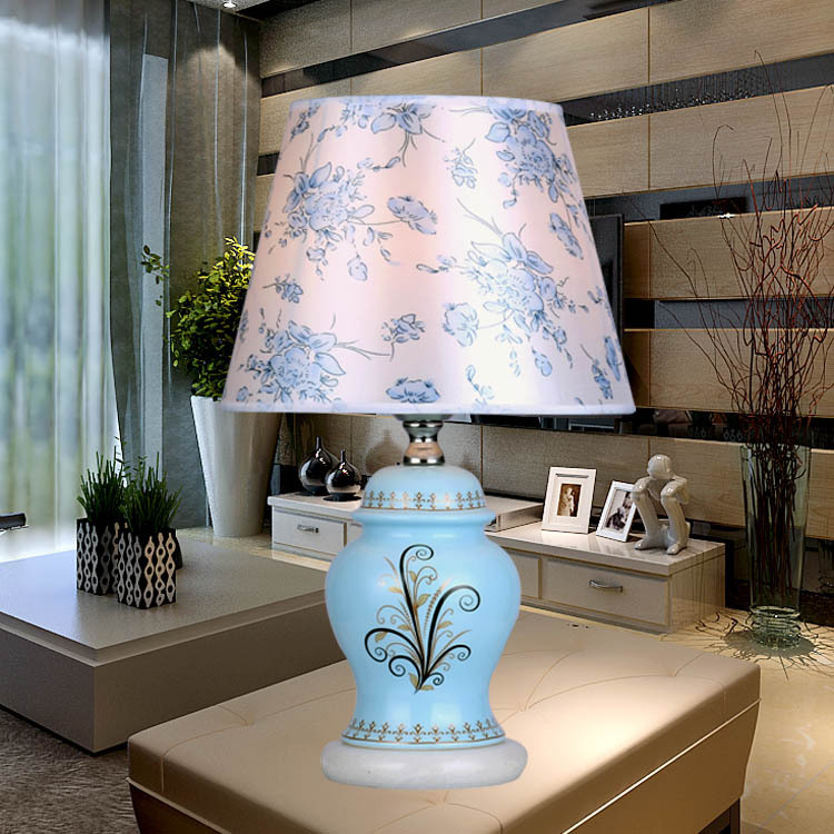 Chinese Blue Ceramic Table Lamps For Bedroom Bedside