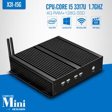 core i5 3317U 4GB RAM 128GB SSD+WIFI Fanless Mini PC desktop Computers 4*COM 8*USB Wired Support Win 7 XP System