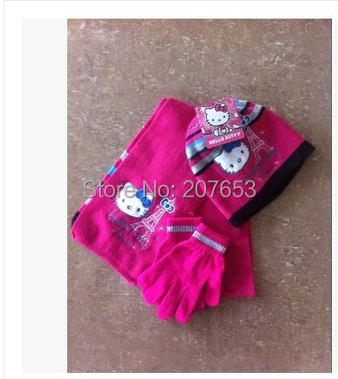 2015 winter newest free shipping 6sets /lot girls hello kitty knitted scarf+hat+glove 3pc set warm scarf ,hat and glove 4-6years(China (Mainland))