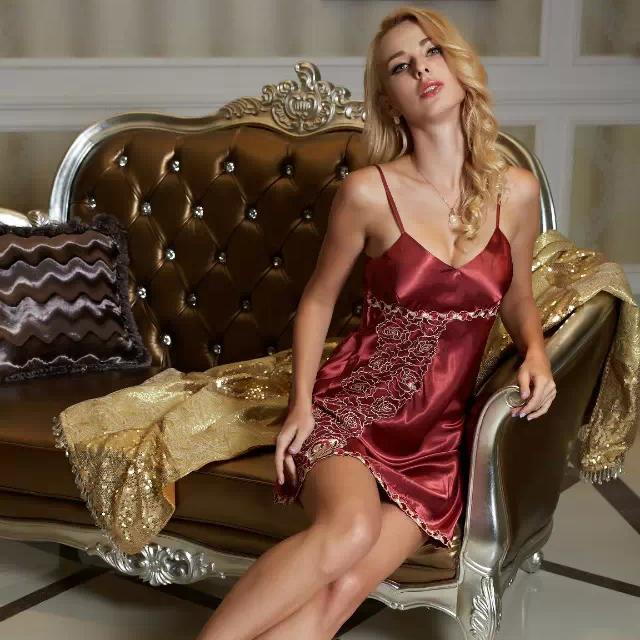 2015 Summer silk satin nightgowns lace sexy V-neck sleep skirts emulation silk wine red silk satin dress casual nightwear 1333(China (Mainland))