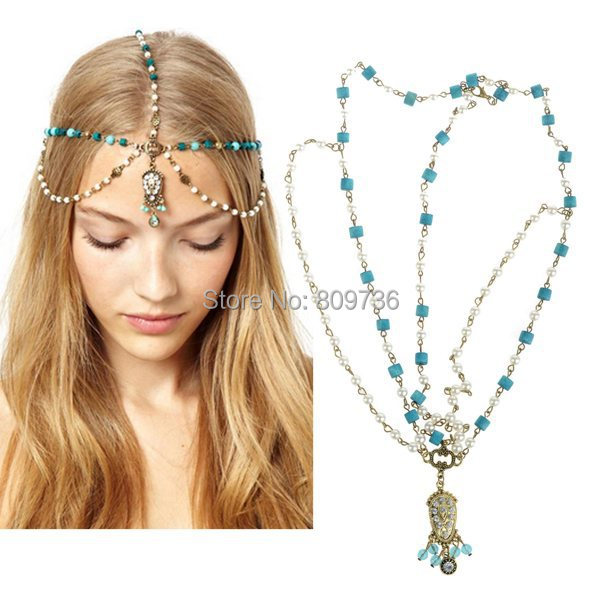 Vintage Hot Ladies Bohemia Statement Hairband Crystal Pearl Chain Tassels Hair Bands Acessories Fashion Jewelry Free(China (Mainland))