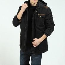 Free shipping !!! New tide Men's Brand winter fashion casual Outdoor 100% cotton warm  jacket Detachable cap / M-XXXL