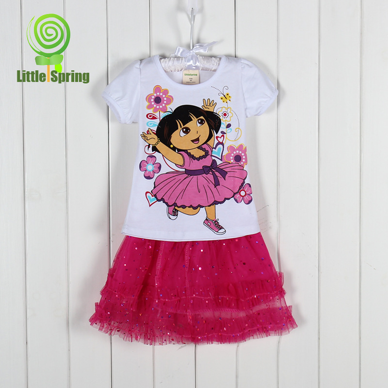 AliExpress.com Product - 2014 new Summer Children girls summer Set Girls T-shirt + veil Dora Duola cartoon chiffon tutu clothing suit 6306 freeshipping