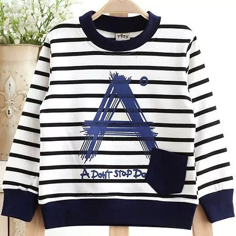 Moleton Infantil Boys T Shirt 2015 Autumn New Stripe Round Neck A Pocket Child Cotton Long-Sleeved T-Shirt Sweatshirt Boy(China (Mainland))