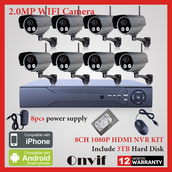 8CH H.264 NVR Wireless CCTV System Surveillance Kits 3TB HDD Onvif 1080P 2.0MP Full HD IP Camera WIFI Network Security Camera(China (Mainland))