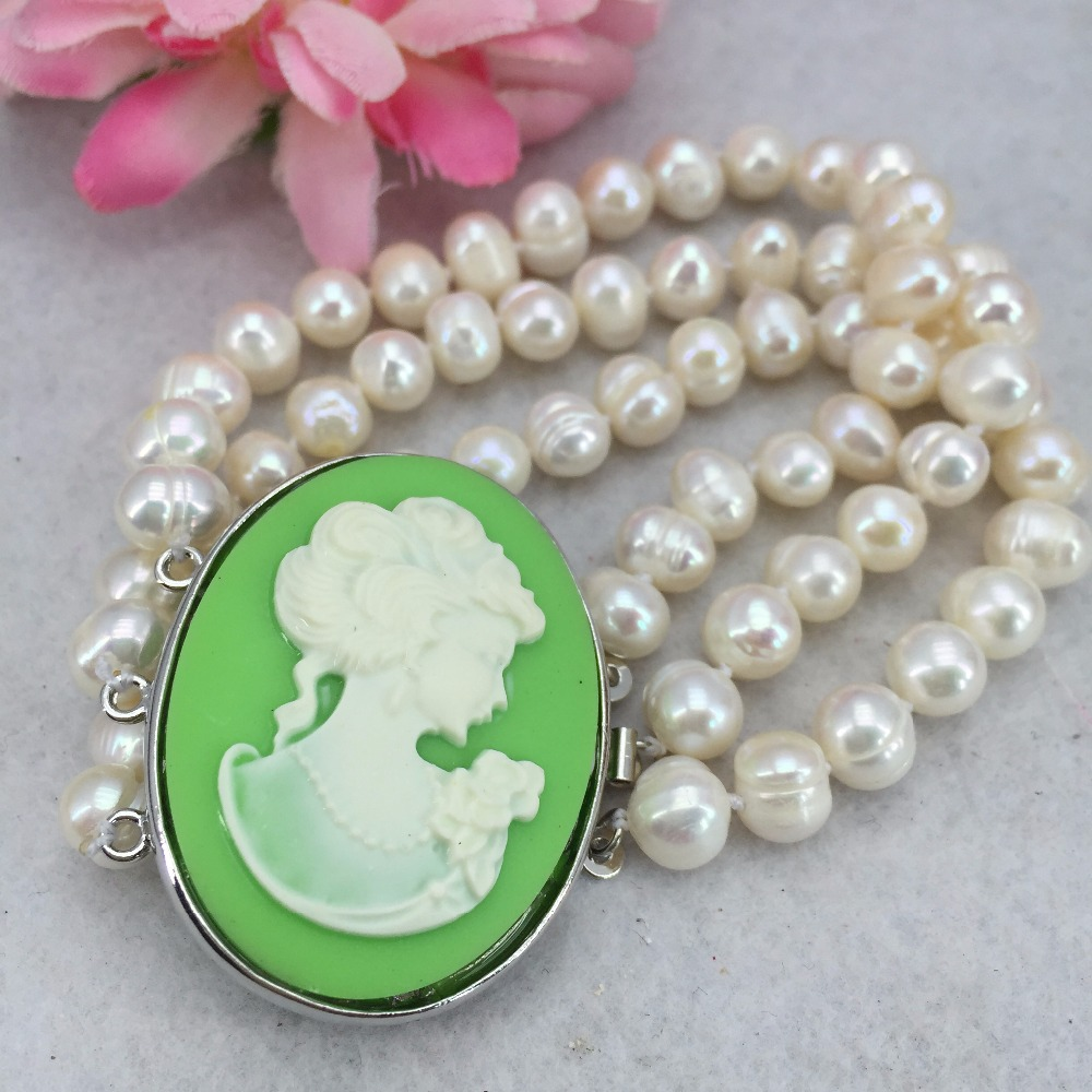 Among the 3 row 7-8mm White all-match girl Akoya Pearl Cameo Necklace Bracelet beads jewelry making ZH0290(China (Mainland))
