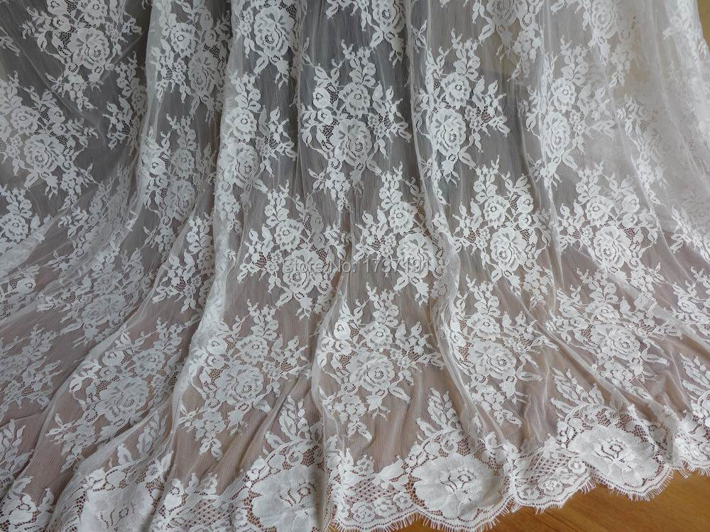 Buy white floral lace fabric beautiful for Wedding dress fabric stores