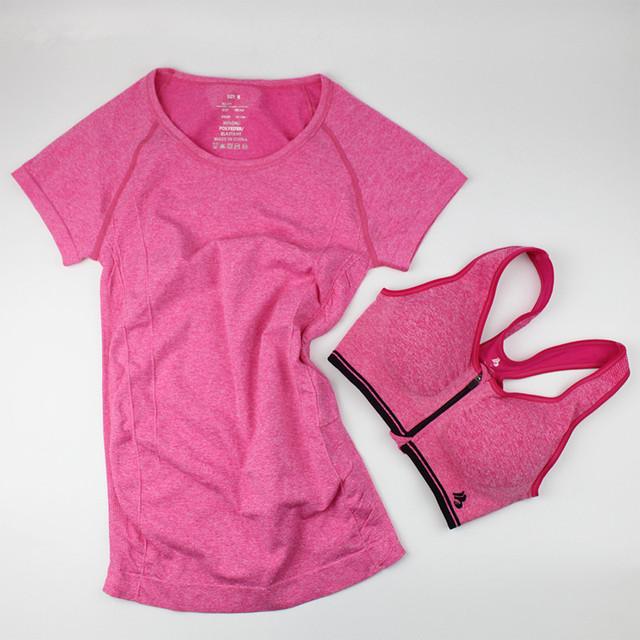 Спортивное женщины свободного покроя футболка + бюстгальтеры спорт топы быстрого ...