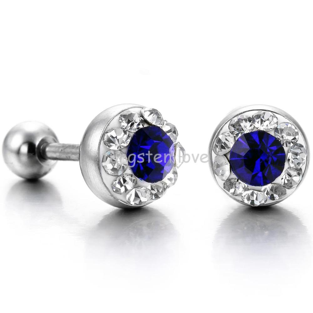 Fashion Shiny Punk Cubic Zirconia CZ 316L Stainless Steel Mens Stud Earrings For Men Stylish Gifts 3 colors - 1 pair(China (Mainland))