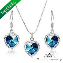 Buy JS S050 Titanic Heart Ocean Blue Jewelry Sets High Classic Crystal Necklace Set Women African Jewelry Set ) for $8.00 in AliExpress store