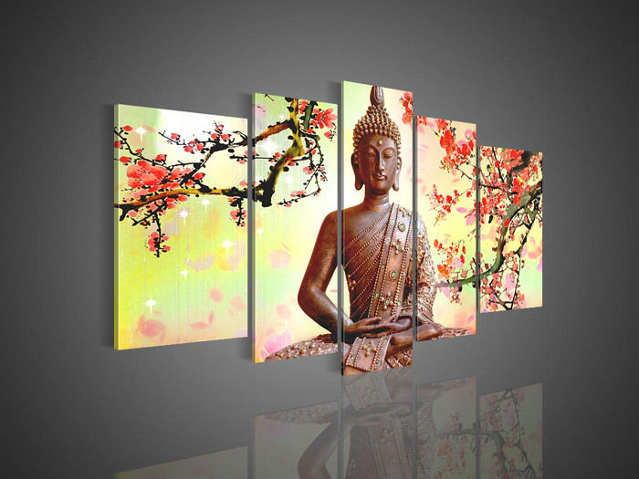 5 panel wall art religion buddha oil painting on canvas for Imagenes de cuadros abstractos famosos