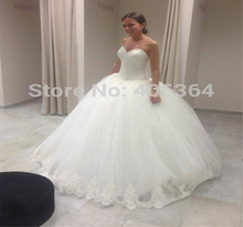 Buy 9014 Beautiful Ivory White Lace edge Wedding Dress 2016 vestidos de noiva New Bridal Ball Gown Size 2-28W for $71.99 in AliExpress store