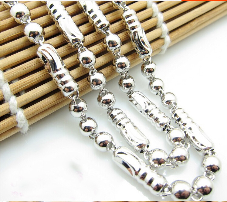 19 inch Pure 925 Sterling Silver Mens Beads Necklace chain Heavy gold 18.54g<br><br>Aliexpress