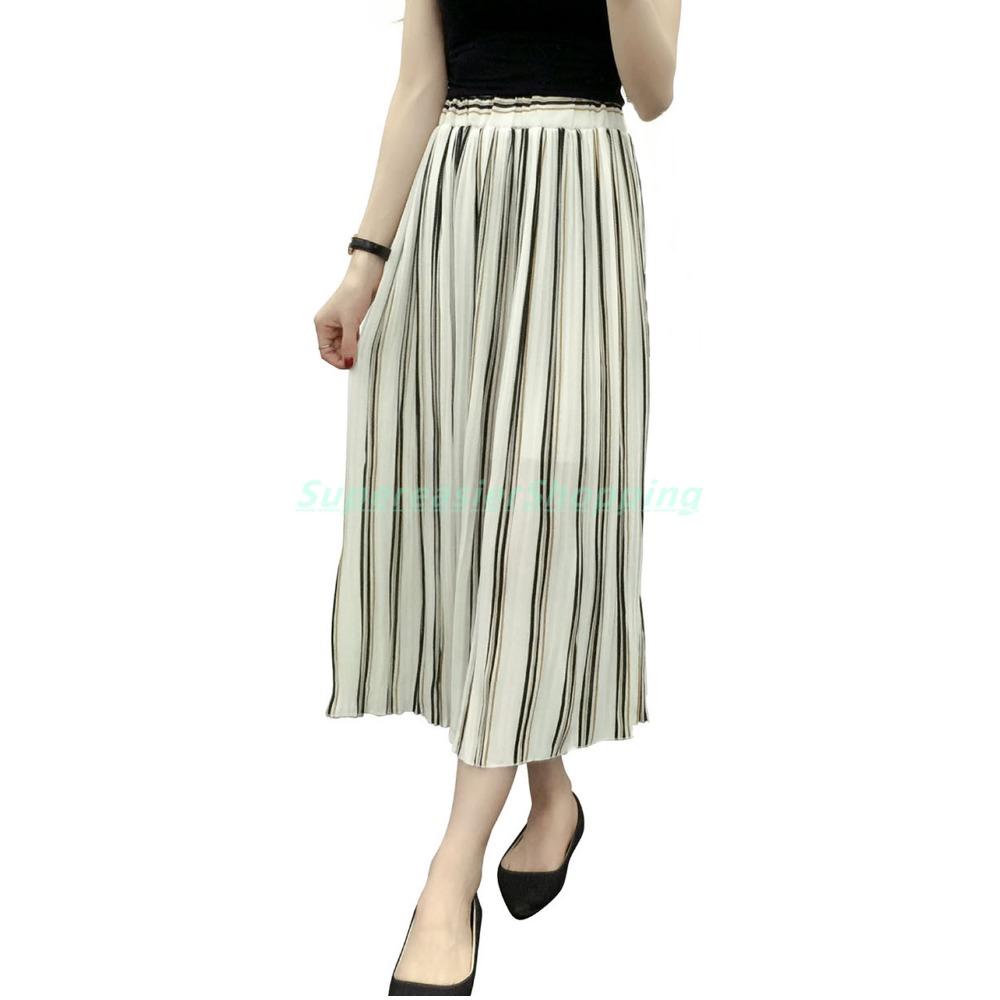 Lot 10x Slim Chiffon Stripes Pleated Skirts Women 3 Colors Elastic High Waist New 2016 Summer Beach Long Skirt Free Size BQ3012(China (Mainland))