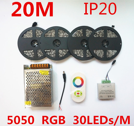 5050 RGB Led Strip Light Tape 20M 600leds SMD DC 12V 18A Wireless Touch Controller + 10A 12V Power Supply(China (Mainland))