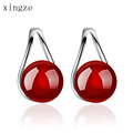 New High Quality Waterdrop Shaped Natural Agate Stud Earrings Charm Women S Hollow Design Silver Plated