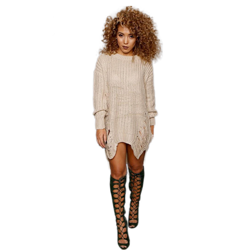 2016 Hot Fashion Autumn Women Sweater Ripped Knitted Sweaters Pullovers Long Sleeve Off Shoulder Pullover Asymmetrical Sweater(China (Mainland))
