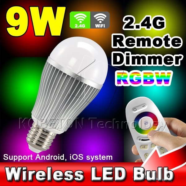 Wireless E27 9W 6W RGBW LED Mi Light Lamp Bulb 2.4G Wifi Remote Control Brightness Dimmer for iPhone 5S for iPad IOS Android OS(China (Mainland))