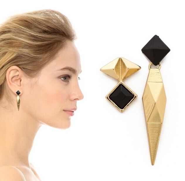 New Punk style 18K gold plated Asymmetry stud earrings women fashion brand jewelry wholesale 1419(China (Mainland))