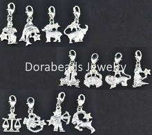 24 Mixed Zodiac Clip On Charms. Fit Link Chain Bracelet (B09423)8seasons(China (Mainland))