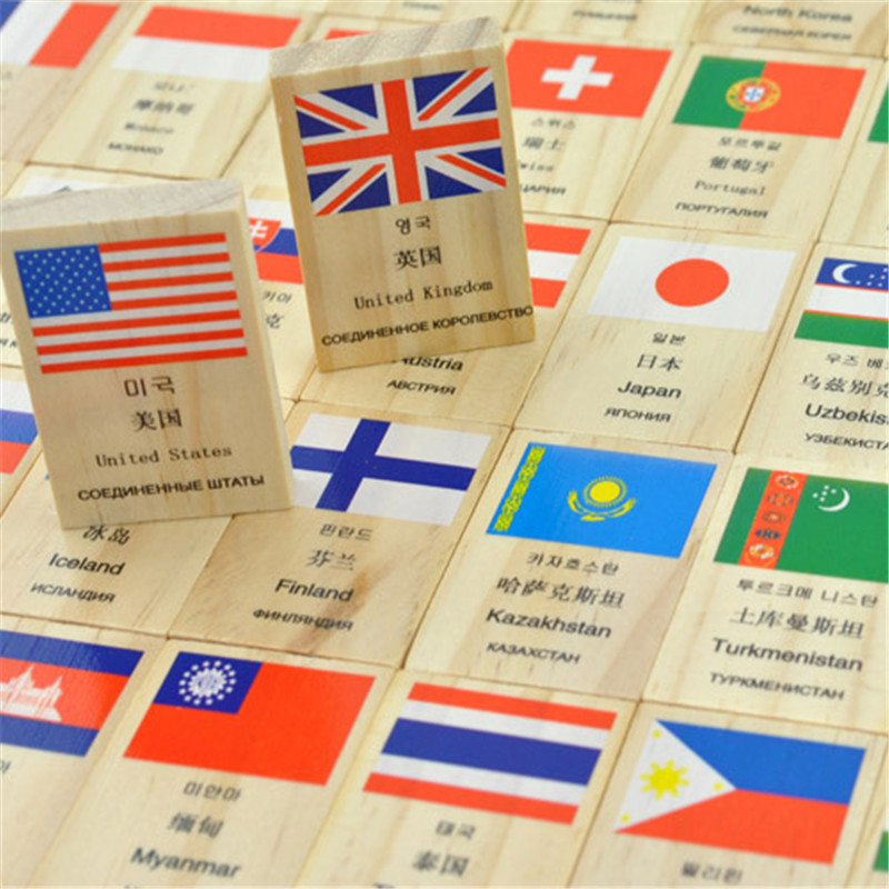Russian English Chinese Korean Language National Flag Geography Children Kids Wooden Educational Domino Block Toys, 1SET=100PCS(China (Mainland))