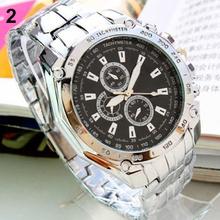 Venta caliente de moda hombre acero inoxidable de cuarzo analógico mano deportivo reloj de pulsera relojes 0RTV