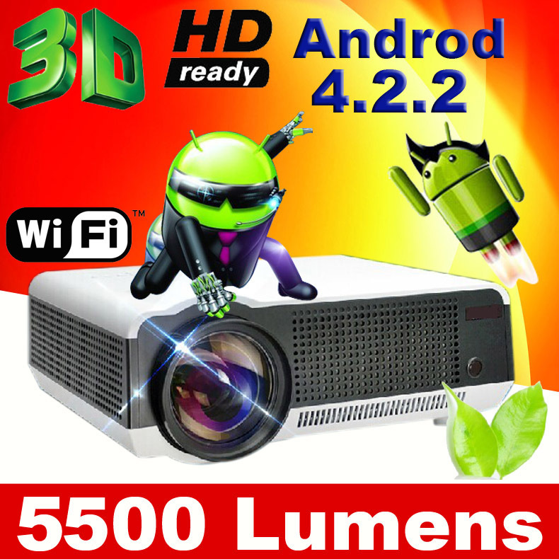Free 100inch screen 5500 lumens Android 4.2 1080P wifi led projector full hd 3d home theater lcd video TV proyector projektor(China (Mainland))