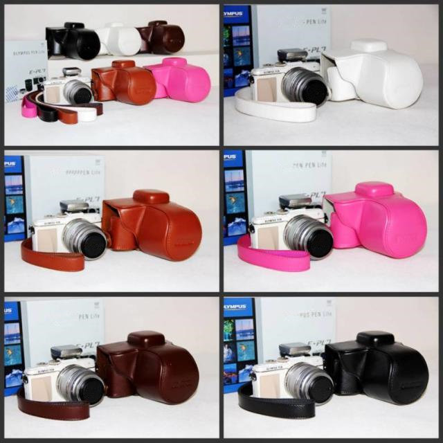 Camera Bag Case Black/White/Brown/Coffe/Pink Leather Case for Digital Camera Olympus EPL7 Free Ship(China (Mainland))
