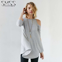 Fashion T Shirt Women 2016 Sexy Off Shoulder Casual Tops Long Sleeve Plus Size xxl T Shirt Loose Solid Casual Poleras De Mujer(China (Mainland))