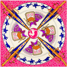 100cm*100cm Luxury Women Large Twill 100% Pure Silk Square Scarf Horse Disc Print Designer Scarves High Quality Shawl Hijab(China (Mainland))