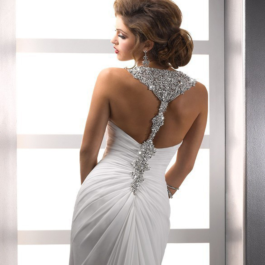 Wholesale Beach Sexy Backless Wedding Dresses Halter Neck Slit Side With Long Trains Wedding Party Dresses