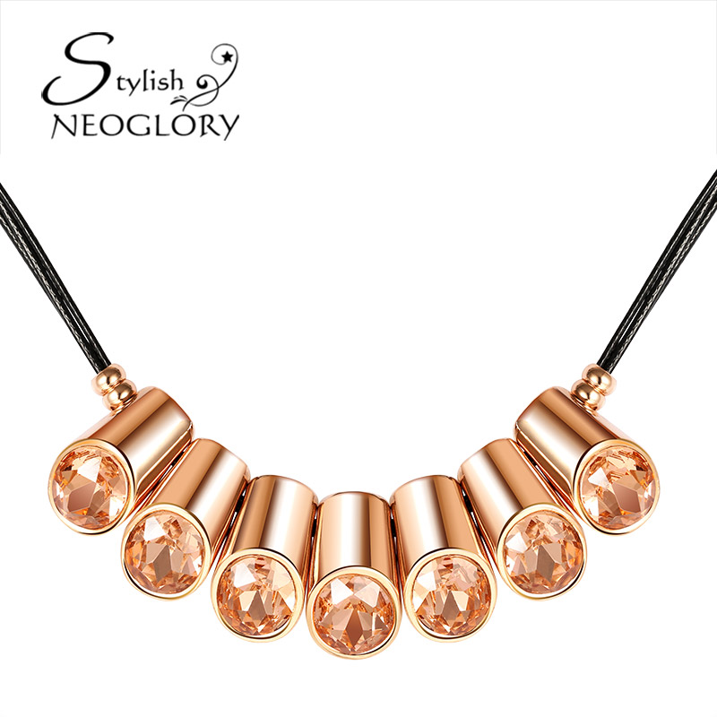 Neoglory Stylish Alloy Rose Gold Plated Crystal Chain Necklaces Statement Jewelry For Women New Christmas Birthday Party Yc(China (Mainland))