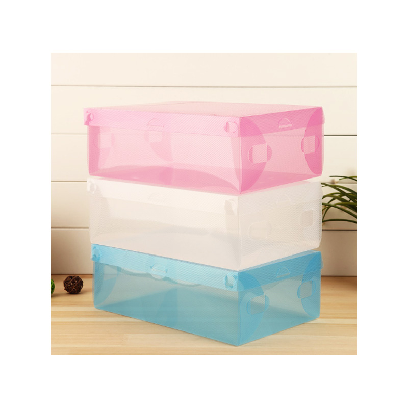 1PC Thick Transparent Colored Shoe Boot Plastic Clamshell Shoe Box Drawer Storage Box free shipping(China (Mainland))