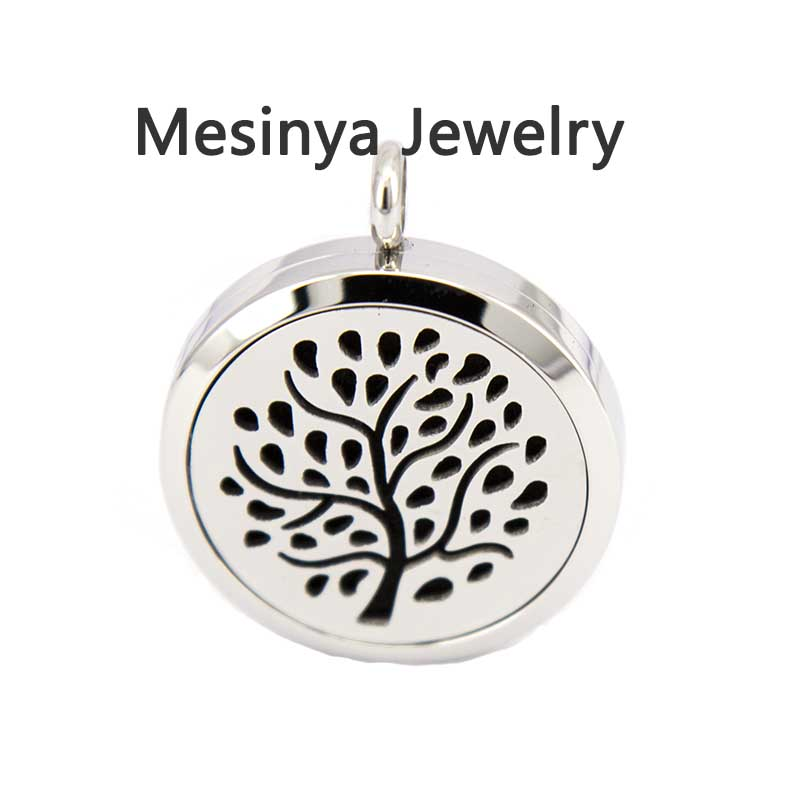 10pcs mesinya silver color tree of wisdom(30mm) Aromatherapy / Essential Oils Stainless Steel Perfume Diffuser Locket Necklace<br><br>Aliexpress