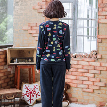 Song Riel autumn and winter fleece cartoon printed long sleeved pajamas men and women couple home